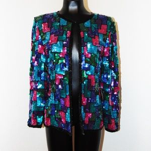 Vtg 80s Colorful Sequin Top in sz M